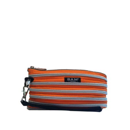 Wristlet Makeup Bag in Tangerine