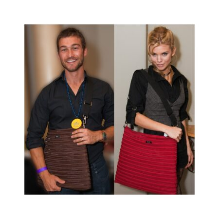 Andy Whitfield and Anna Lynn McCord with Backpack Messenger Bag