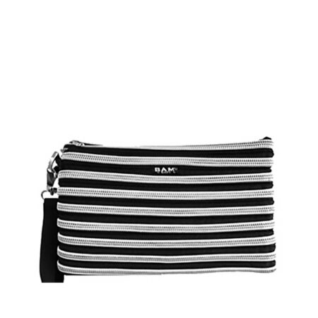 Carryall Wristlet in Black and Silver