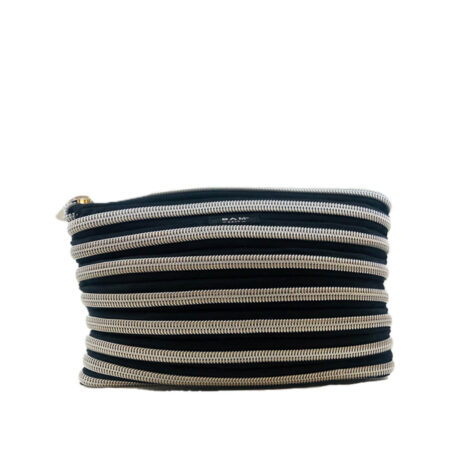 Carryall Pouch in Black and Silver Front