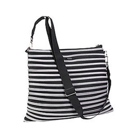 Backpack Messenger Bag in Black and Silver Full