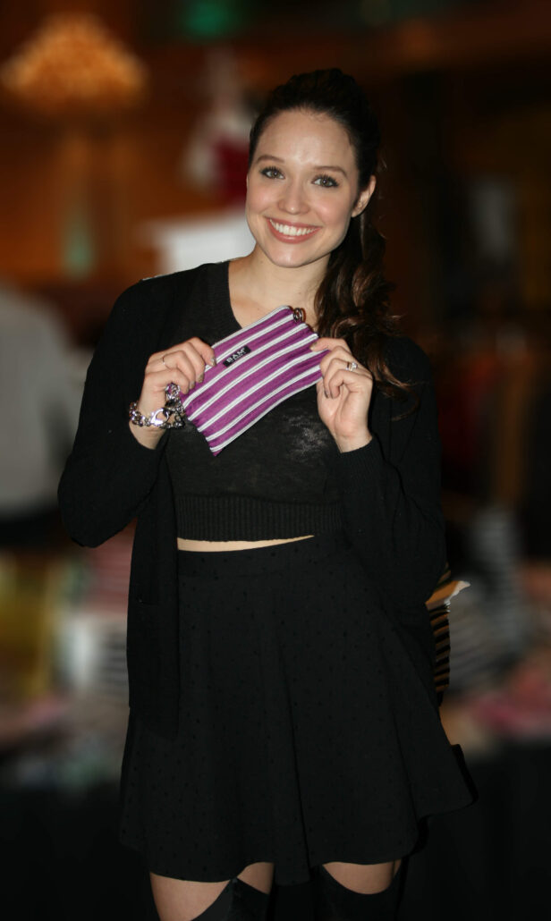 Jaclyn Betham with a Wristlet Makeup Bag