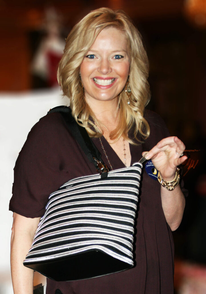 Melissa Peterman wearing the Flat Bottom Tote