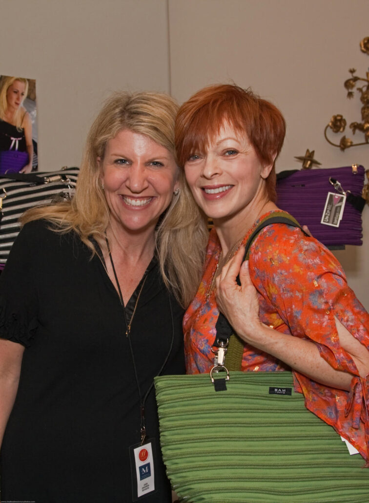 Francis Fisher wearing the flat bottom tote with Beth from BAM Bags